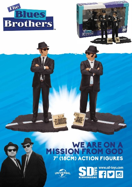 SD Toys The Blues Brothers Jake and Elwood 7 Inch Figure Set